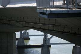 """Bird """"condos'' on the underside of the new Bay Bridge were built for the 500 or so pairs of double-crested cormorants still believed to be nesting beneath the old bridge."""