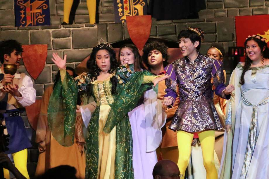 "Performers in South Houston High School's production of ""Once Upon a Mattress"" include Giovanni Gee, left, Mariah Martinez, Amber Cardenas, Angel Vera, Aaron Hinojosa, Princess Chukwumah and Jennifer Tafolla. Judges for the Tommy Tune Awards were dazzled by their handmade costumes, awarding the school a nomination for costume design. The school also garnered nominations for best ensemble/chorus, musical direction, choreography and and scenic design. / Mark Halvorsen"