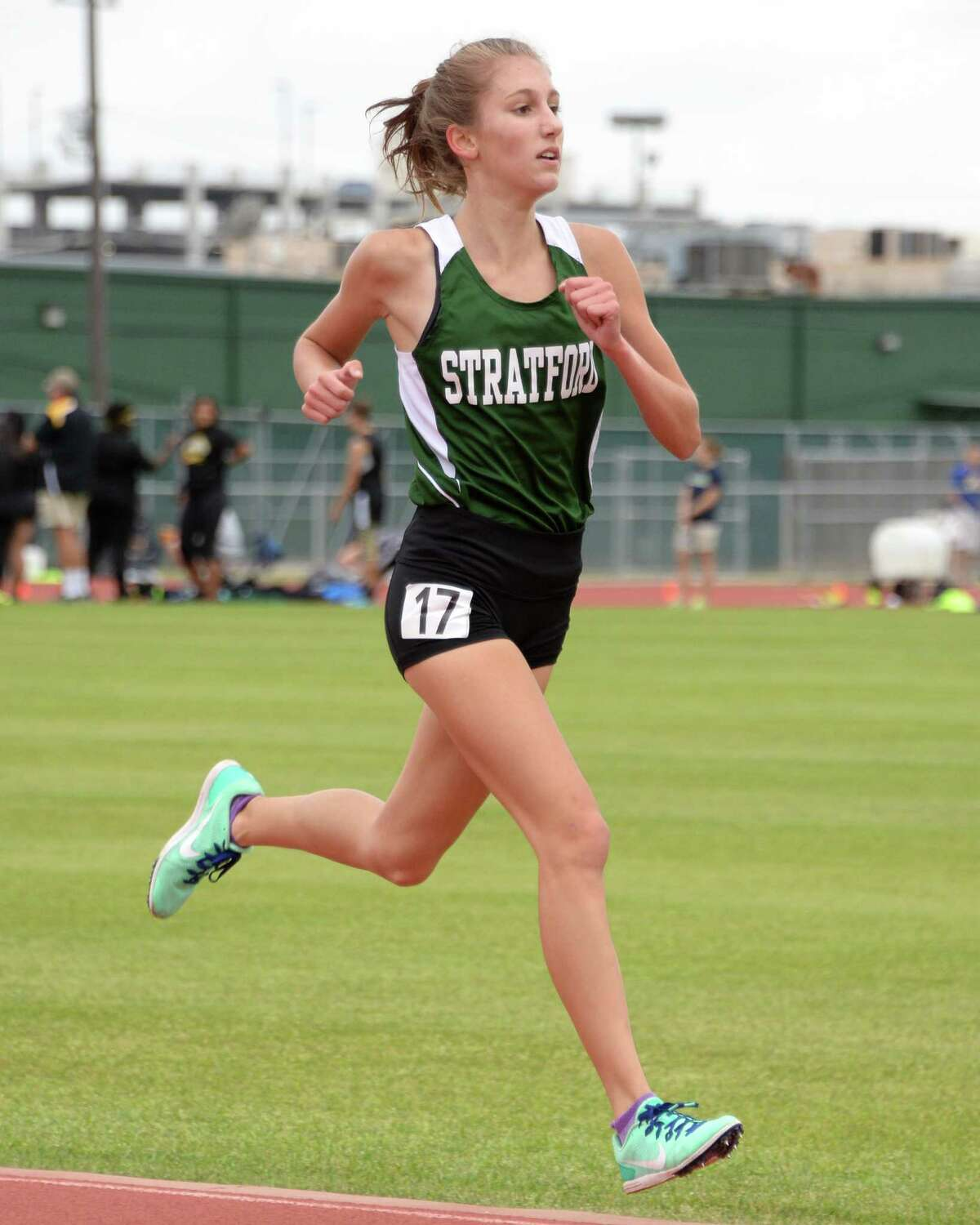 Grace Custer (17) of Stratford finishes in first place of the girls 3200 Meter event at the 15-6A Varsity District Track Meet on April 11, 2017 at Stratford High School, Houston, TX.
