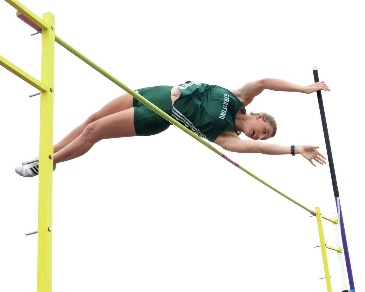 Brittany Baerg of Stratford was one of the top three finishers in the girls pole vault before a weather delay at the 15-6A Varsity District Track Meet on April 11, 2017 at Stratford High School, Houston, TX.