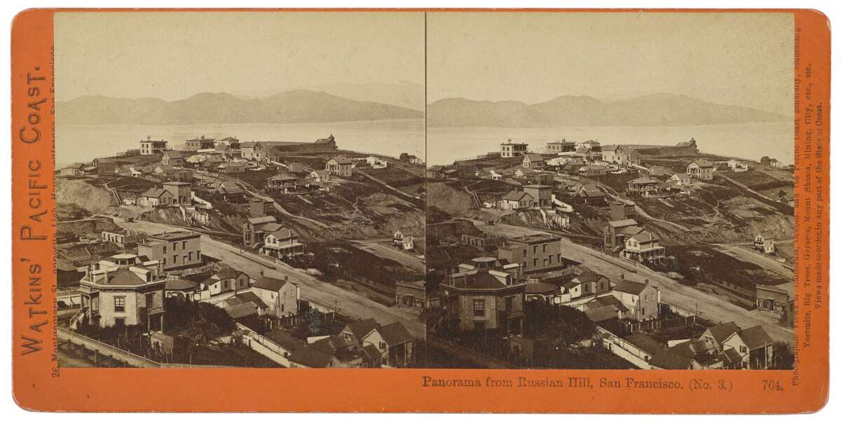 Where's Alcatraz? The prison had yet to be built when these panoramas were taken atop Russian Hill in the mid-1800s by American Photographer Carelton Watkins for a stereoview. This stereograph is part of a collection going up for auction at Bonhams.