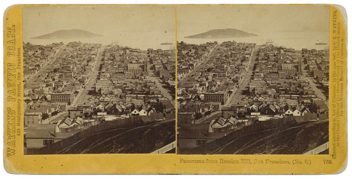 A stereograph featuring a panorama of Russian Hill taken in the mid-1800s by Carleton Watkins. This image is part of a collection going up for auction at Bonhams.