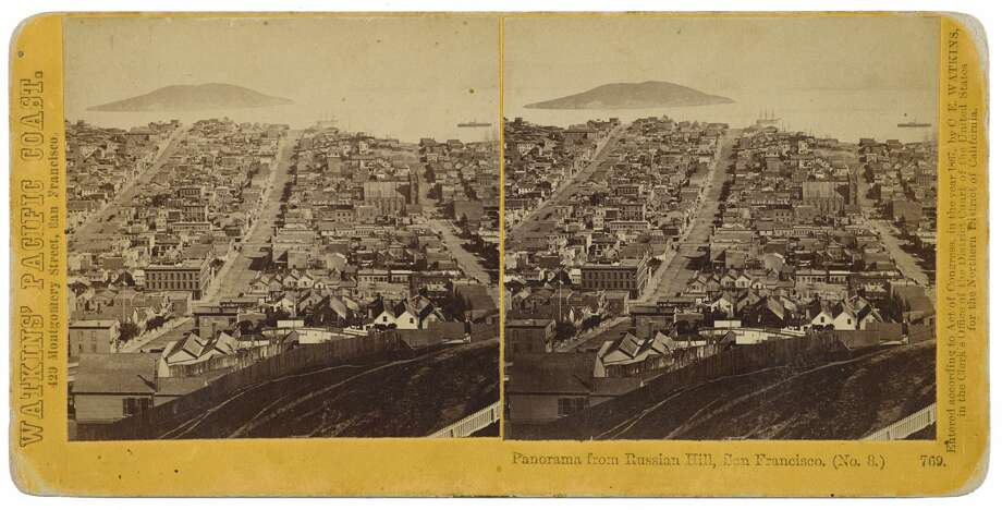 A stereograph featuring a panorama of Russian Hill taken in the mid-1800s by Carleton Watkins. This image is part of a collection going up for auction at Bonhams.  Photo: Bonhams
