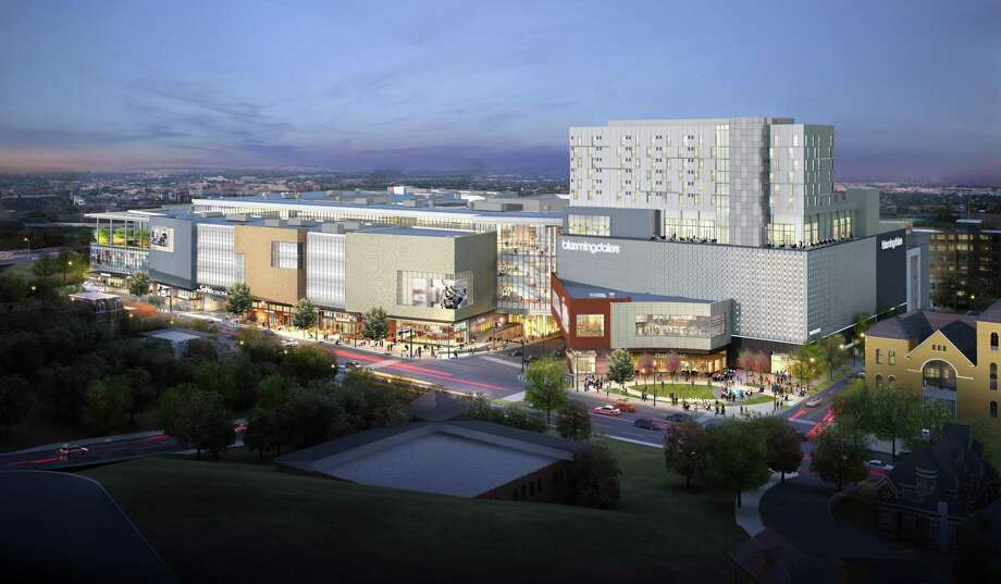 The facade of the proposed Bloomingdale's at The SoNo Collection in Norwalk. The hotel, the tallest structure to the right, will not be built. Photo: Contributed Rendering / Contributed