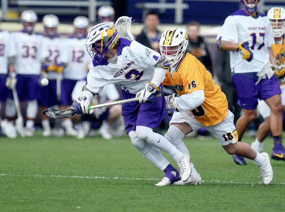 UAlbany's TD Ierlan (3) wins the  face-off, against UMBC's Jake Brothers (16) during a NCAA Division I men's lacrosse game on Saturday, April 7, 2017, in Albany, N.Y. (Hans Pennink / Special to the Times Union) ORG XMIT: HP113 Photo: Hans Pennink / Hans Pennink