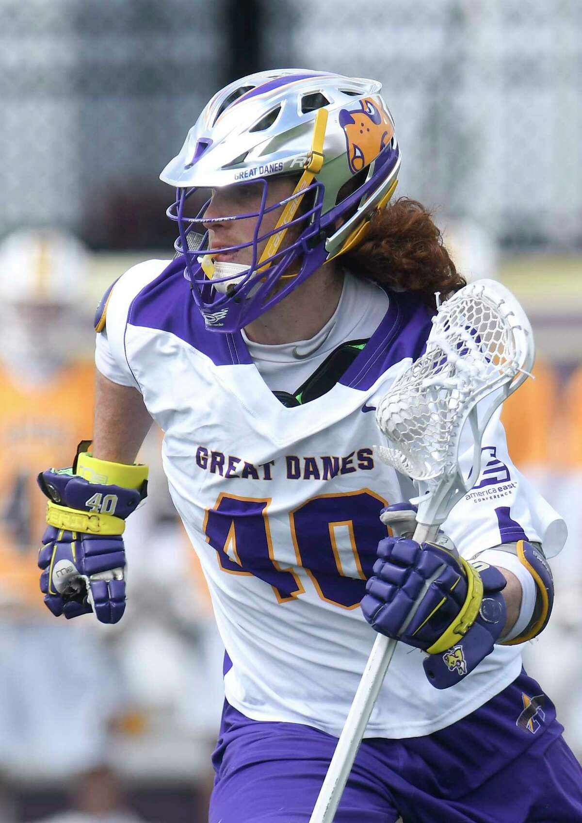 UAlbany's Kyle McClancy (40) moves the ball against UMBC's during a NCAA Division I men's lacrosse game on Saturday, April 7, 2017, in Albany, N.Y. (Hans Pennink / Special to the Times Union) ORG XMIT: HP117