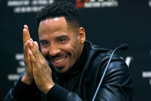 Andre Ward appears at a press conference with Sergey Kovalev in Oakland, Calif. on Tuesday, April 11, 2017 to promote a rematch of their light heavyweight boxing championship bout in Las Vegas on June 17.