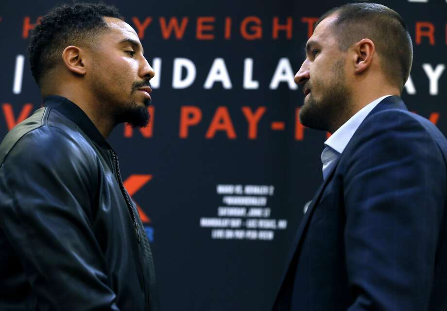 Andre Ward and Sergey Kovalev meet face-to-face in a traditional stare-down at a press conference in Oakland, Calif. on Tuesday, April 11, 2017 to promote a rematch for the light heavyweight boxing championship bout in Las Vegas on June 17. Photo: Paul Chinn, The Chronicle