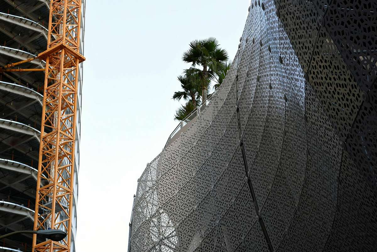 Trees planted by McGuire and Hester Contracting are seen on top of the Transbay Terminal, with the Transbay Tower under construction at left, in San Francisco, CA, on Friday March 10, 2017.