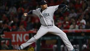 ANAHEIM, CA - APRIL 08:  Pitcher Felix Hernandez #34 of the Seattle Mariners pitches in the second inning during the MLB game against the Los Angeles Angels of Anaheim at Angel Stadium of Anaheim on April 8, 2017 in Anaheim, California.  (Photo by Victor Decolongon/Getty Images)