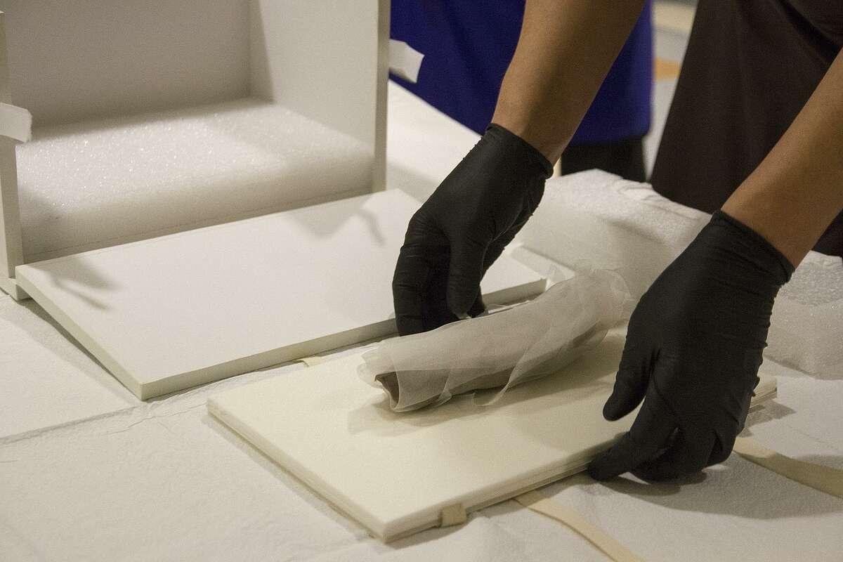 Tyler Lewis, unpacks a mummy of a crocodile for an X-ray.