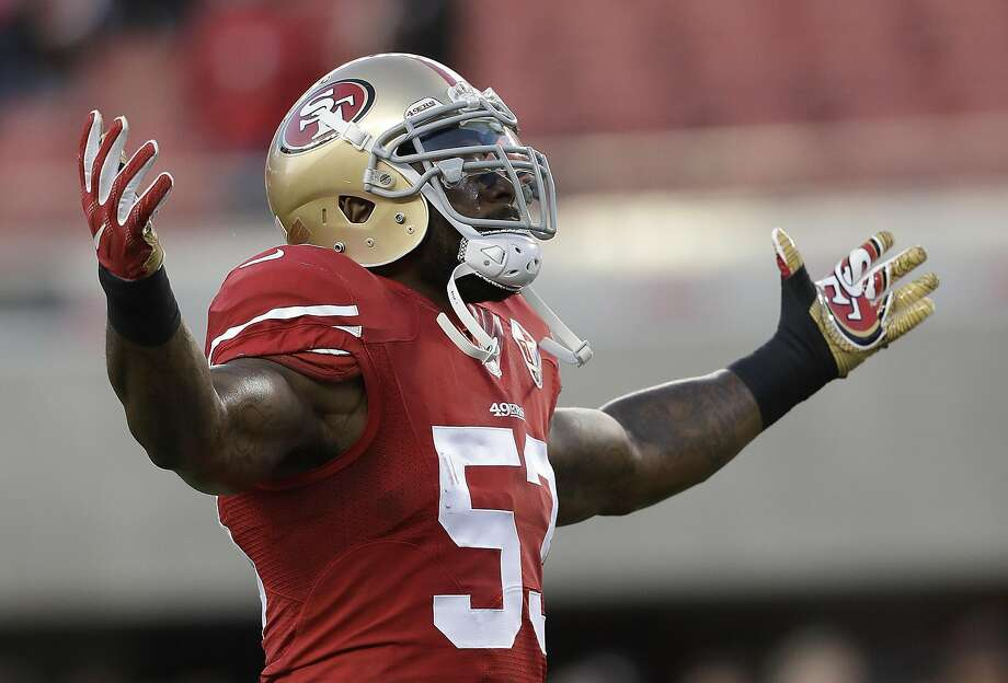 NaVorro Bowman (53) warms up before the season opener against the Rams in 2016. Photo: Marcio Jose Sanchez, AP