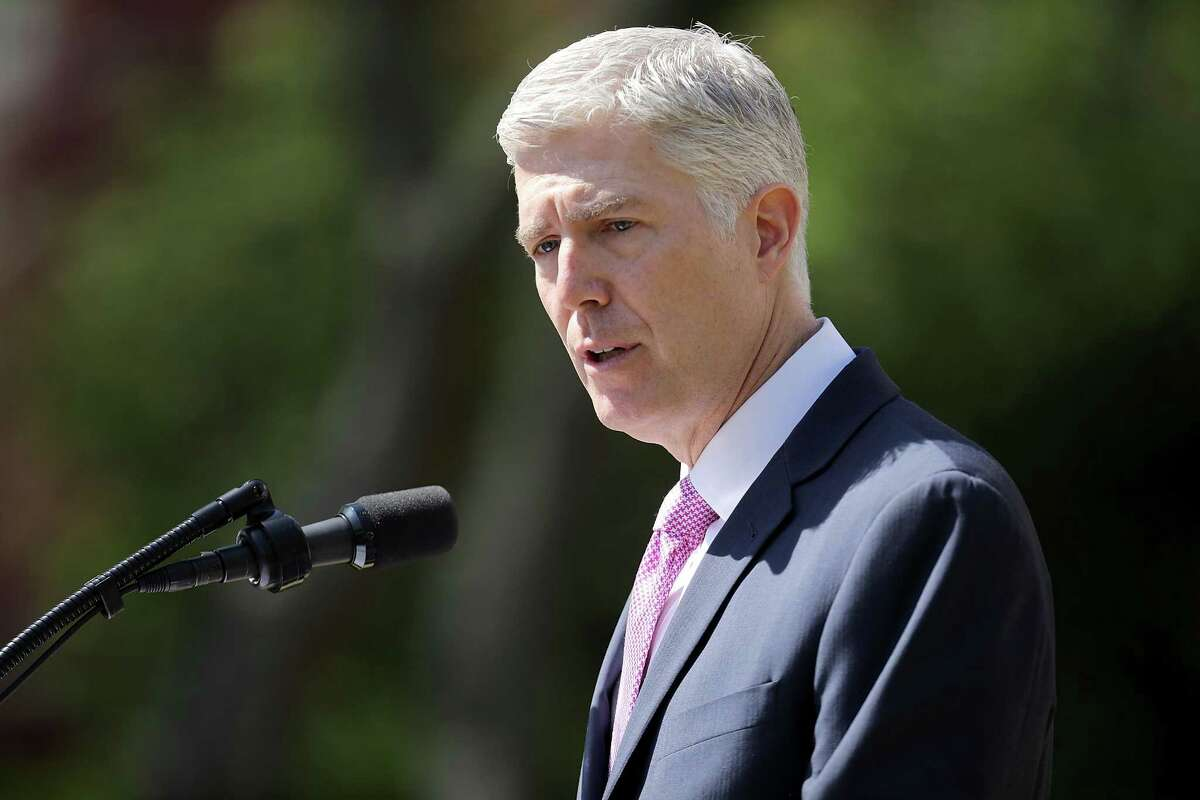 WASHINGTON, DC - APRIL 10: U.S. Supreme Court Associate Justice Neil Gorsuch delivers remarks after taking the judicial oath during a ceremony in the Rose Garden at the White House April 10, 2017 in Washington, DC. Earlier in the day Gorsuch, 49, was sworn in as the 113th Associate Justice in a private ceremony at the Supreme Court. (Photo by Chip Somodevilla/Getty Images)