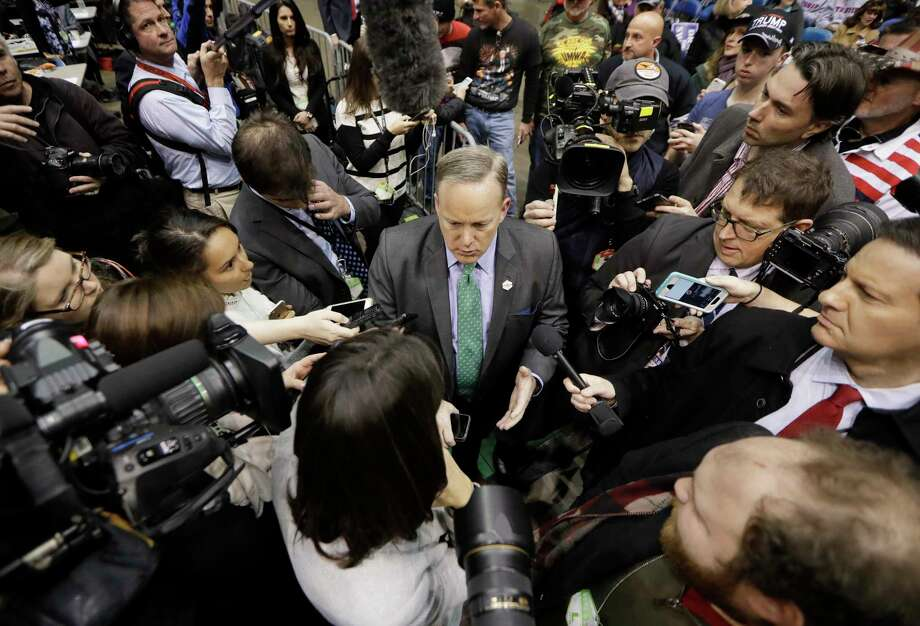 White House Press secretary Sean Spicer speaks to the media before President Donald Trump speaks at a rally last month in Nashville, Tenn. (AP Photo/Mark Humphrey) Photo: Mark Humphrey, STF / Copyright 2017 The Associated Press. All rights reserved.