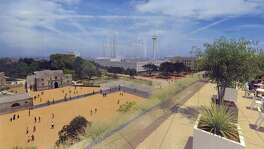 This artist's rendering shows the appearance of Alamo Plaza under a master plan that would include an interpretation of the south wall and historic main gate of the mission and 1836 battle compound, made of structural glass. This view shows the plaza looking from the west, from a rooftop deck on top a four-story museum.
