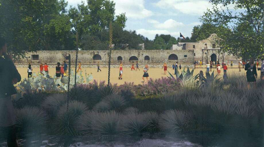 This is a rendering of the same view of Alamo Plaza from the west, under the Alamo master plan, with a replicated acequia and drought-tolerant landscaping in the foreground. Photo: Courtesy Illustration / Texas General Land Office