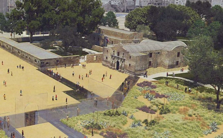 This rendering shows the appearance of Alamo Plaza under a master plan that would include an interpretation of the south wall and historic main gate of the mission and 1836 battle compound, made of structural glass. Planners are apparently abandoning that glass wall. In fact, the plan should be viewed as just a start.