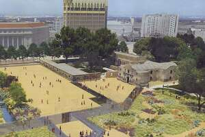This rendering shows the appearance of Alamo Plaza under a master plan that would include an interpretation of the south wall and historic main gate of the mission and 1836 battle compound, made of structural glass. Other features include a 135,000-square-foot museum; historic footings of the historic walls displayed under structural glass; and interpretation of an acequia, or water canal, on the west end of the plaza.