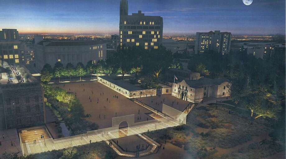This artist's rendering shows the appearance of Alamo Plaza under a master plan that would include an interpretation of the south wall and historic main gate of the mission and 1836 battle compound, made of structural glass, as it would appear at night. Other features include a 135,000-square-foot museum; historic footings of the historic walls displayed under structural glass; and interpretation of an acequia, or water canal, on the west end of the plaza. Photo: Courtesy Illustration / Texas General Land Office