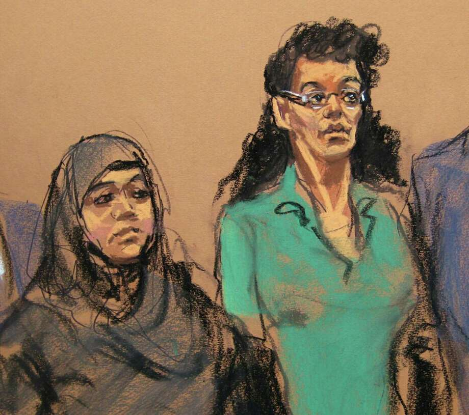 "FILE- In this April 2, 2015 courtroom file sketch, defendants Noelle Velentzas, left and Asia Siddiqui, appear at federal court in New York after they were arrested for plotting to build a homemade bomb and wage jihad in New York City. By combing the web, attorneys for the two defendants say they have obtained a photograph and learned the real name of the undercover agent who helped nab the women by assumed a fake identity and going by the name ""Mel."" And recently the attorneys got a judge's approval for a plan to circulate her picture at area mosques to try to build a case that their clients were entrapped. (AP Photo/Jane Rosenberg, File) ORG XMIT: NYR401 Photo: Jane Rosenberg / Copyright 2017 The Associated Press. All rights reserved."