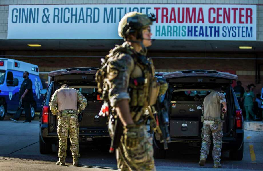 "Heavily armed officers scoured Ben Taub Hospital on Feb. 21 after hospital staff initiated a ""Code White,"" which means an active shooter may be in the building. Photo: Marie D. De Jesus, Staff / © 2017 Houston Chronicle"