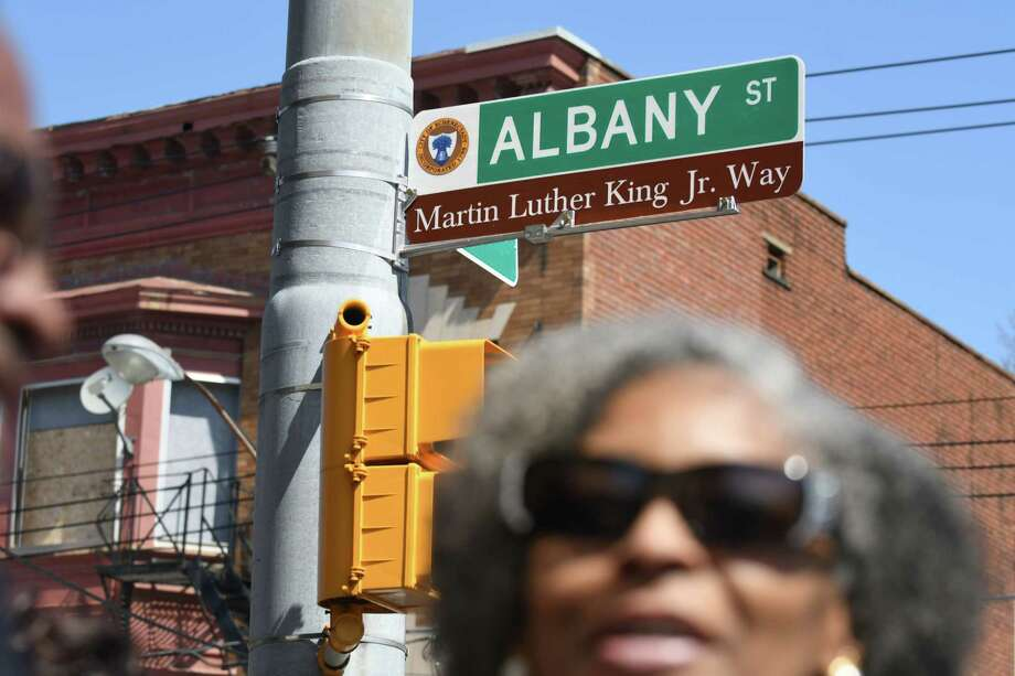 Albany St., between Veeder to Brandywine Avenues, was renamedMartin Luther King Jr.Way on Tuesday, April 11, 2017, during a dedication ceremony in Schenectady, N.Y. (Will Waldron/Times Union) Photo: Will Waldron / 20040195A