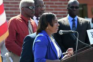 Angelicia Morris, executive director of the Schenectady County Human Rights Commission, speaks during a dedication ceremony for MLK, Jr. Way, a portion of Albany St., between Veeder to Brandywine Avenues which was renamed on Tuesday, April 11, 2017, in Schenectady, N.Y. (Will Waldron/Times Union)