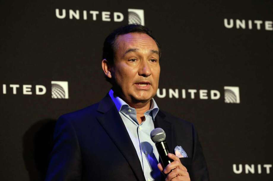 "FILE - In this Thursday, June 2, 2016, file photo, United Airlines CEO Oscar Munoz delivers remarks in New York, during a presentation of the carrier's new Polaris service, a new business class product that will become available on trans-Atlantic flights. Munoz said in a note to employees Tuesday, April 11, 2017, that he continues to be disturbed by the incident Sunday night in Chicago, where a passenger was forcibly removed from a United Express flight. Munoz said he was committed to ""fix what's broken so this never happens again."" (AP Photo/Richard Drew, File) ORG XMIT: NYBZ280 Photo: Richard Drew / Copyright 2017 The Associated Press. All rights reserved."