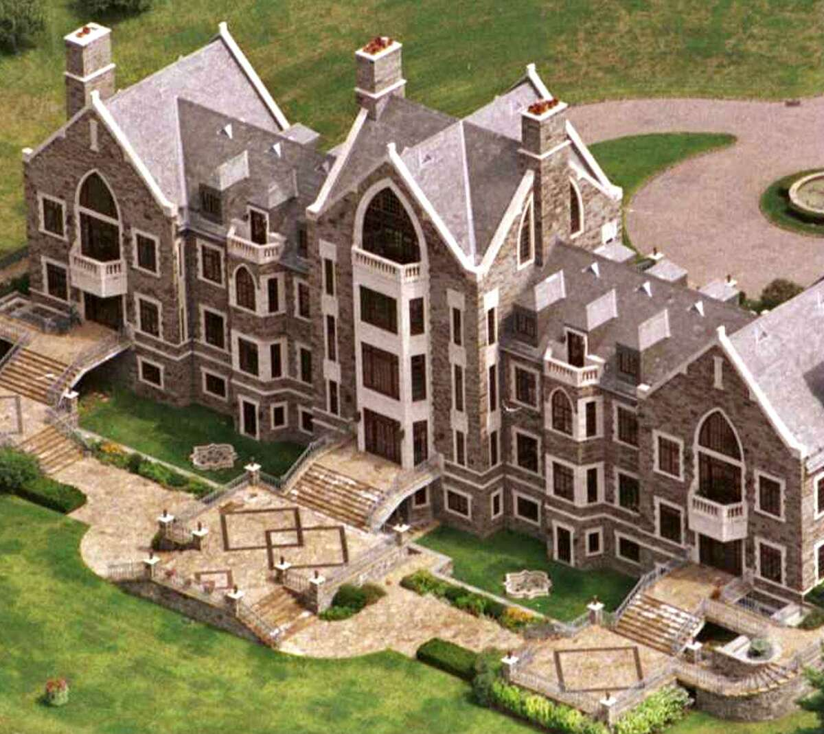 Aerial view of the house known as Llenroc Aug. 21, 1996, in Rexford, N.Y. (Stephen Weaver/Times Union)