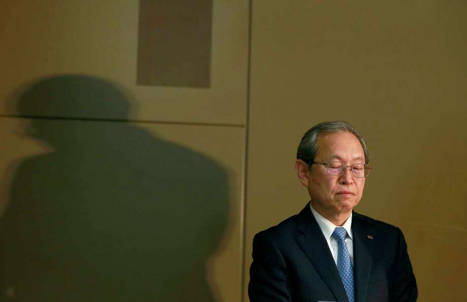 "Toshiba Corp. President Satoshi Tsunakawa listens to a reporter's question during a press conference at the company's headquarters in Tokyo, Tuesday, April 11, 2017. Toshiba, whose U.S. nuclear unit Westinghouse Electric Co. has filed for bankruptcy protection, reported unaudited earnings Tuesday and projected a 1.01 trillion yen ($9.2 billion) loss for the fiscal year that ended in March. Tsunakawa apologized again for the problems but said he did not foresee a need for any dramatic revisions in the earnings report. He called the auditor's decision not to approve it ""truly regrettable."" (AP Photo/Shizuo Kambayashi) ORG XMIT: XKAN114 Photo: Shizuo Kambayashi / Copyright 2017 The Associated Press. All rights reserved."