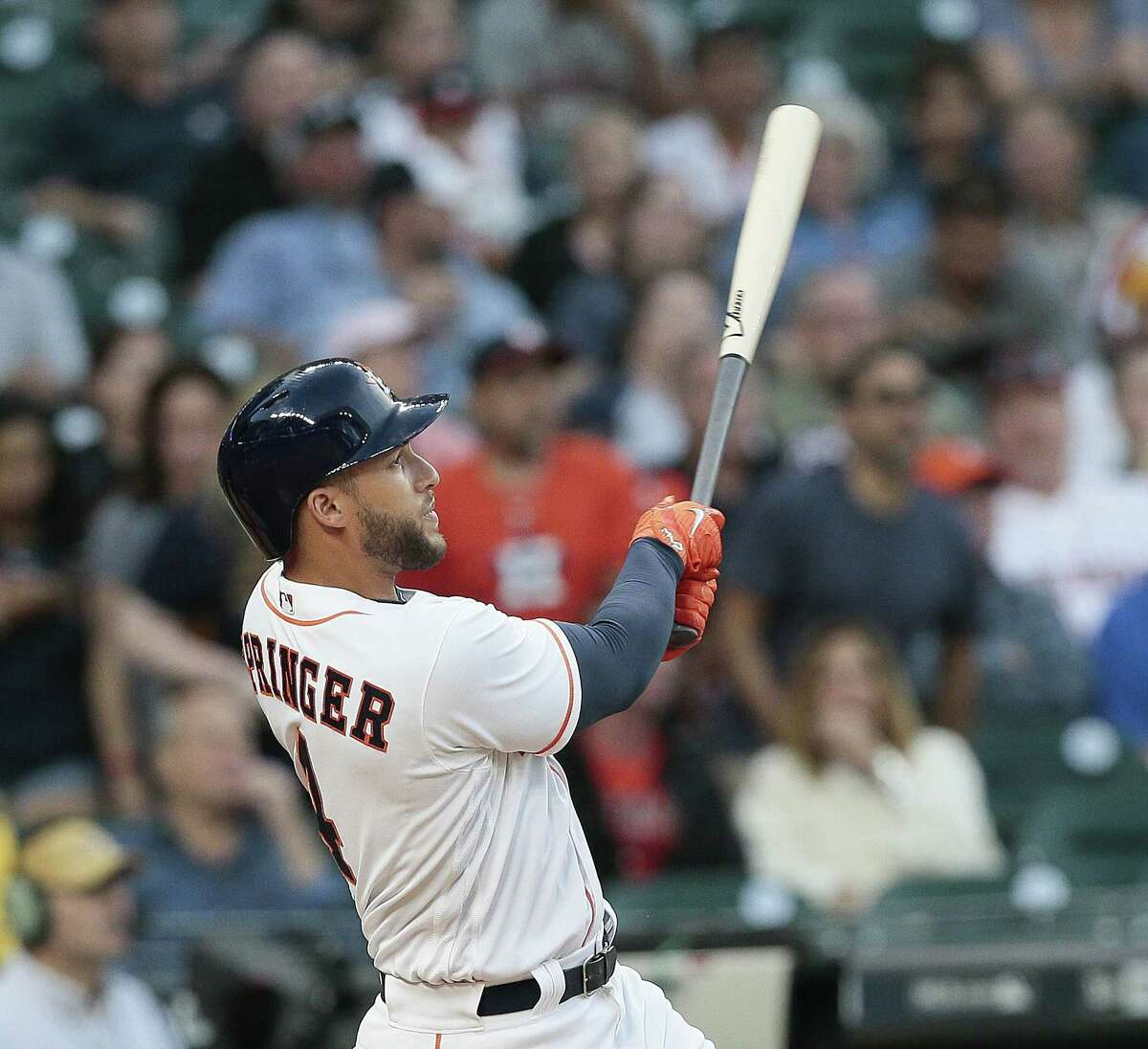 George Springer has been doing a lot of first-inning celebrating this season, with leadoff home runs in four of the Astros' first nine games of the season.