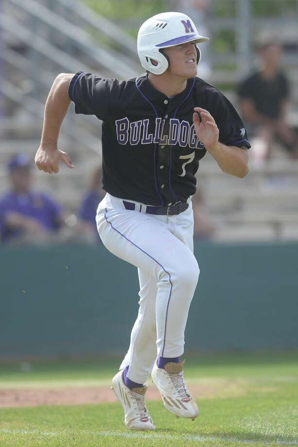 Midland High's Sam Bertelson (7) hits against Odessa High on April 11, 2017 at Zachery Field.  James Durbin/Reporter-Telegram Photo: James Durbin