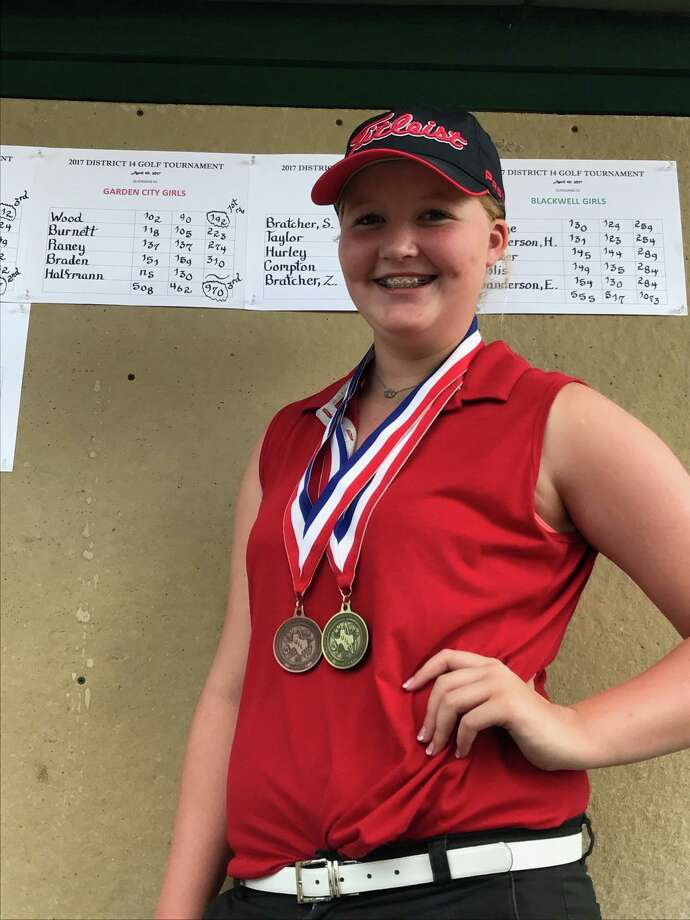 Garden City's Logan Wood poses after winning the District 14-A girls medalist title at Quicksand Golf Course in San Angelo. Photo: Courtesy Photo