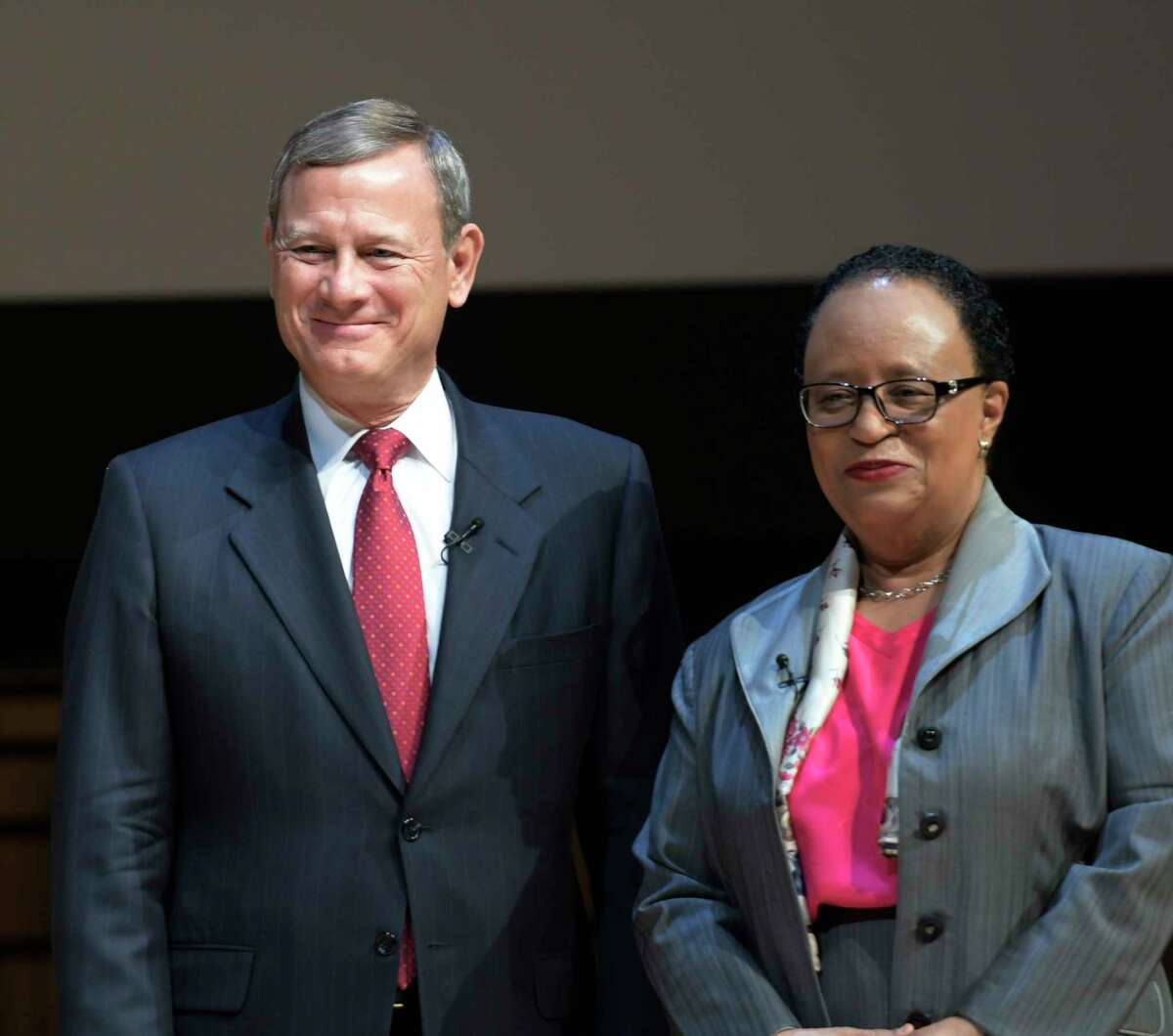 Chief Justice of the United States John Roberts, left, stands with Rensselaer Polytechnic Institute president Shirley Ann Jackson before their Q ad A on Tuesday, April 11, 2017, at RPI in Troy, N.Y. (Skip Dickstein/Times Union)