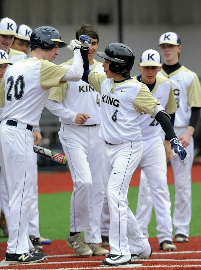 King's Lucas Stalman celebrates a first-inning home run against St. Luke's in a boys baseball game at Bucci Diamond Field in New Canaan on Friday. King defeated St. Luke's 8-1. Photo: Matthew Brown / Hearst Connecticut Media / Stamford Advocate