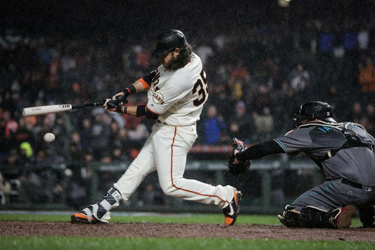 Brandon Crawford strikes out during the bottom of the 9th inning of a game between the San Francisco Giants and the Arizona Diamondbacks at AT&T Park in San Francisco, California, on Tuesday, April 11, 2017.