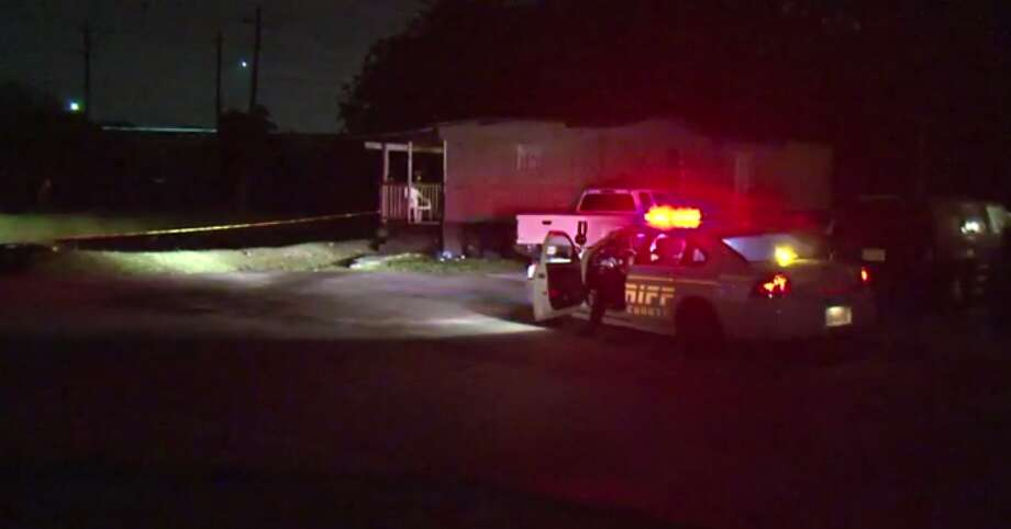 A man is injured after a robbery turned shooting in a north Harris County mobile home park Wednesday. (Metro Video) Photo: Metro Video