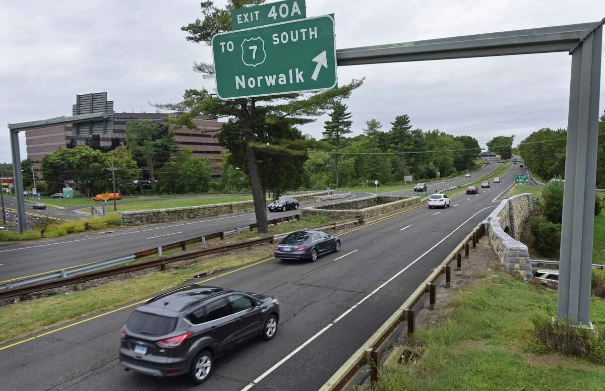 The Merritt Parkway and Route 7 / Main Avenue interchange in Norwalk, Conn. Friday, September 30, 2016. The state Department of Transportation is developing plans to replace signs on the Merritt Parkway from Greenwich to the Stratford/Milford town line. The project - expected to cost $6 million - is now in design phase that will be completed in June. The 38-mile strectch of the parkway where the signs will be replaced starts at the New York/Connecticut border and ends near the Sikorsky Memorial Bridge, where the Merritt becomes the Wilbur Cross Parkway.