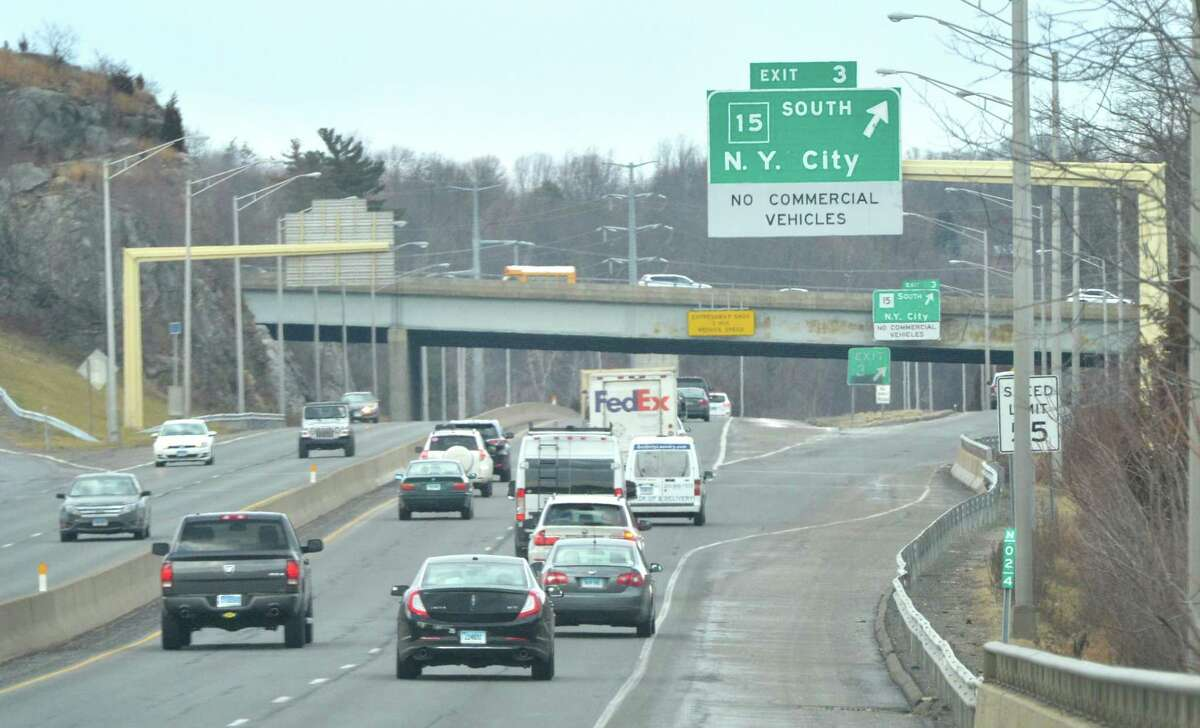 The Rt. 7 Connector looking north to the Merritt Parkway overpass and the exit southbound exit to New York City on Thursday February 2, 2017 in Norwalk Conn. The state Department of Transportation is developing plans to replace signs on the Merritt Parkway from Greenwich to the Stratford/Milford town line. The project - expected to cost $6 million - is now in design phase that will be completed in June. The 38-mile strectch of the parkway where the signs will be replaced starts at the New York/Connecticut border and ends near the Sikorsky Memorial Bridge, where the Merritt becomes the Wilbur Cross Parkway.