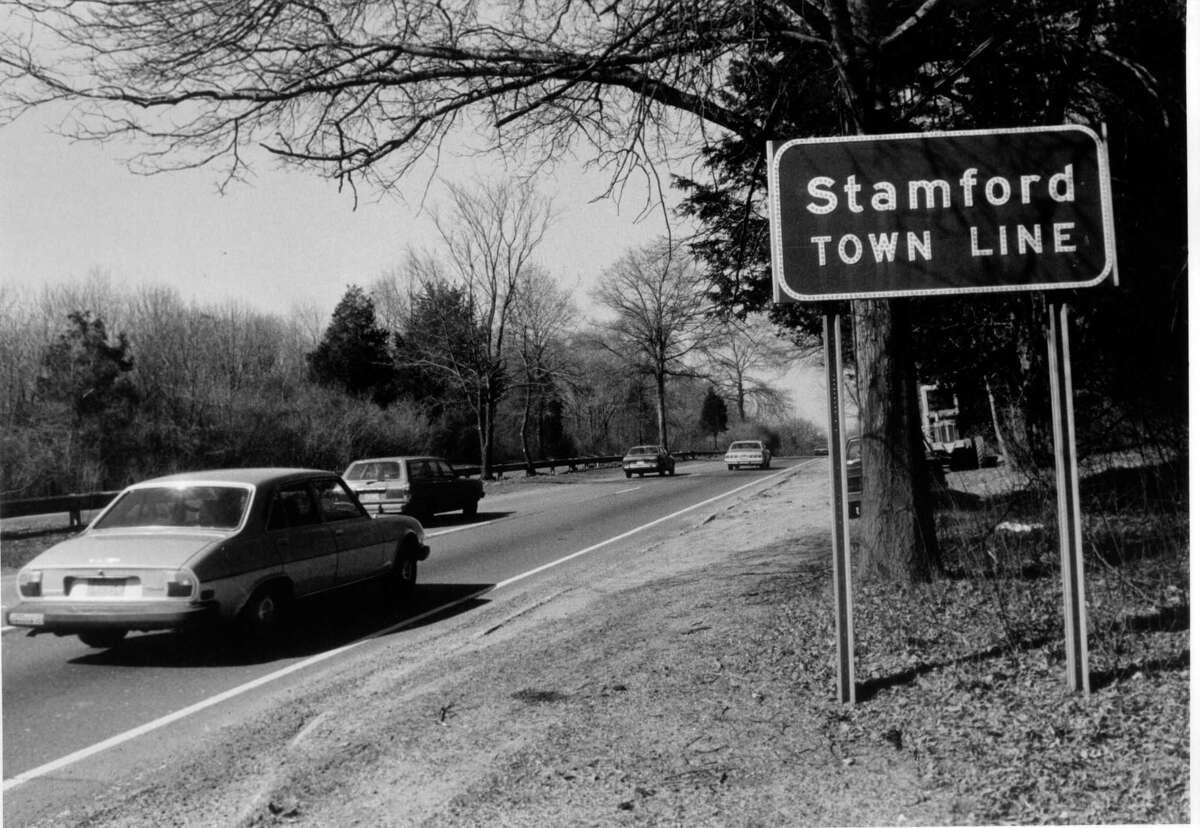 March 22, 1986: Sign on the Merritt Parkway on the Stamford border. The state Department of Transportation is developing plans to replace signs on the Merritt Parkway from Greenwich to the Stratford/Milford town line. The project - expected to cost $6 million - is now in design phase that will be completed in June. The 38-mile strectch of the parkway where the signs will be replaced starts at the New York/Connecticut border and ends near the Sikorsky Memorial Bridge, where the Merritt becomes the Wilbur Cross Parkway.