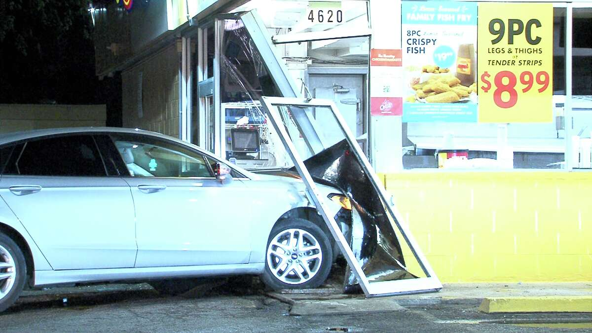 Officers responded to the crash around 12:50 a.m. on Wednesday, April 12, 2017, at the intersection of Division Avenue and South Flores Street, where they found a silver sedan partially inside the restaurant.
