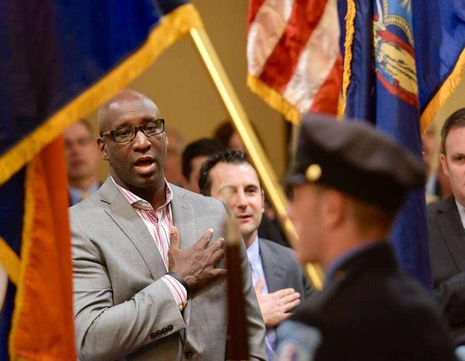 Former Denver Broncos player David Gamble at the Albany PAL Breakfast of Champions on Wednesday, April 12, 2017, at AlbanyCityHall. (Skip Dickstein‏/Times Union) Photo: Skip Dickstein‏/Times Union