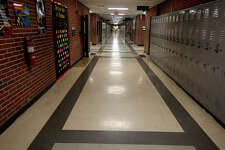 A hallway in Vidor High School on Tuesday. Vidor ISD is proposing a $73.5 million bond issue to build a new high school and use the current campus for the junior high school. Photo taken Tuesday 4/11/17 Ryan Pelham/The Enterprise