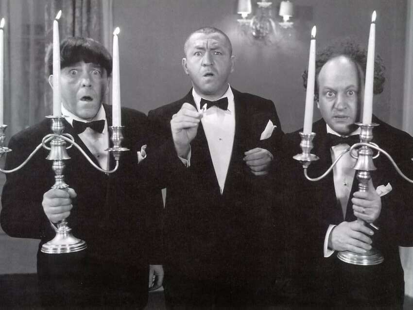 The Three Stooges, from left: Moe Howard, Curly Howard and Larry Fine (image from the Palace Theatre)