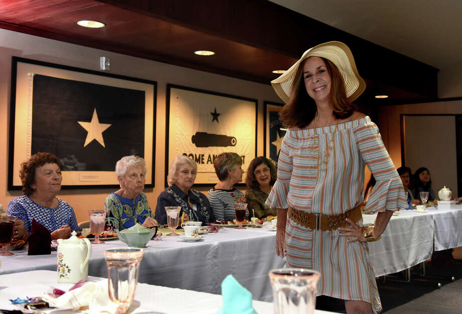Barbara Farr, of KStar Radio, models an outfit during a fashion show held at the monthly luncheon of The Tomball Ladies Club at Amegy Bank in Tomball on April11, 2017. (Photo by Jerry Baker/Freelance) Photo: Jerry Baker, Freelance / Freelance