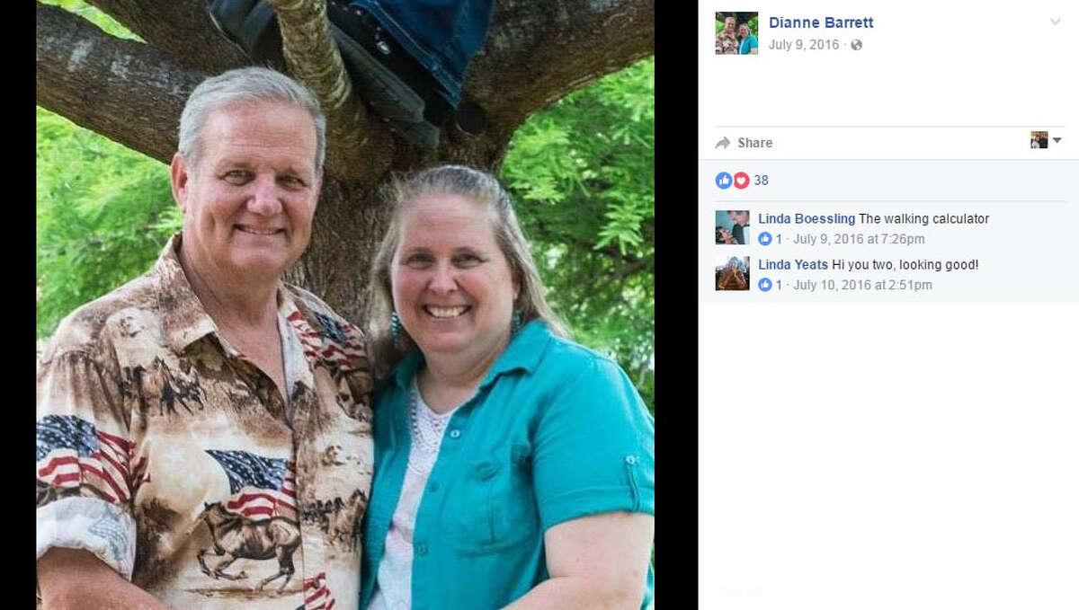 Dianne Barrett, right, poses with her husband Murray Barrett, left.