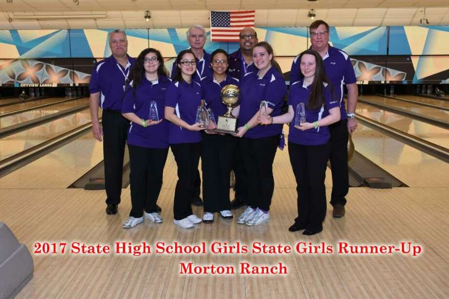 The Morton Ranch girls bowling team finished as the state runner-up at the Texas High School Bowling Club Tournament, March 25-26 in Fort Worth. The Lady Mavericks were represented by Crystal Cline, Leslie Gracian, Kayla Marsh, Zoe Powers and Danielle Turner. The team is coached by Mike Benoit, Derrick Marsh and Rick Foley. Photo: Submitted Photo
