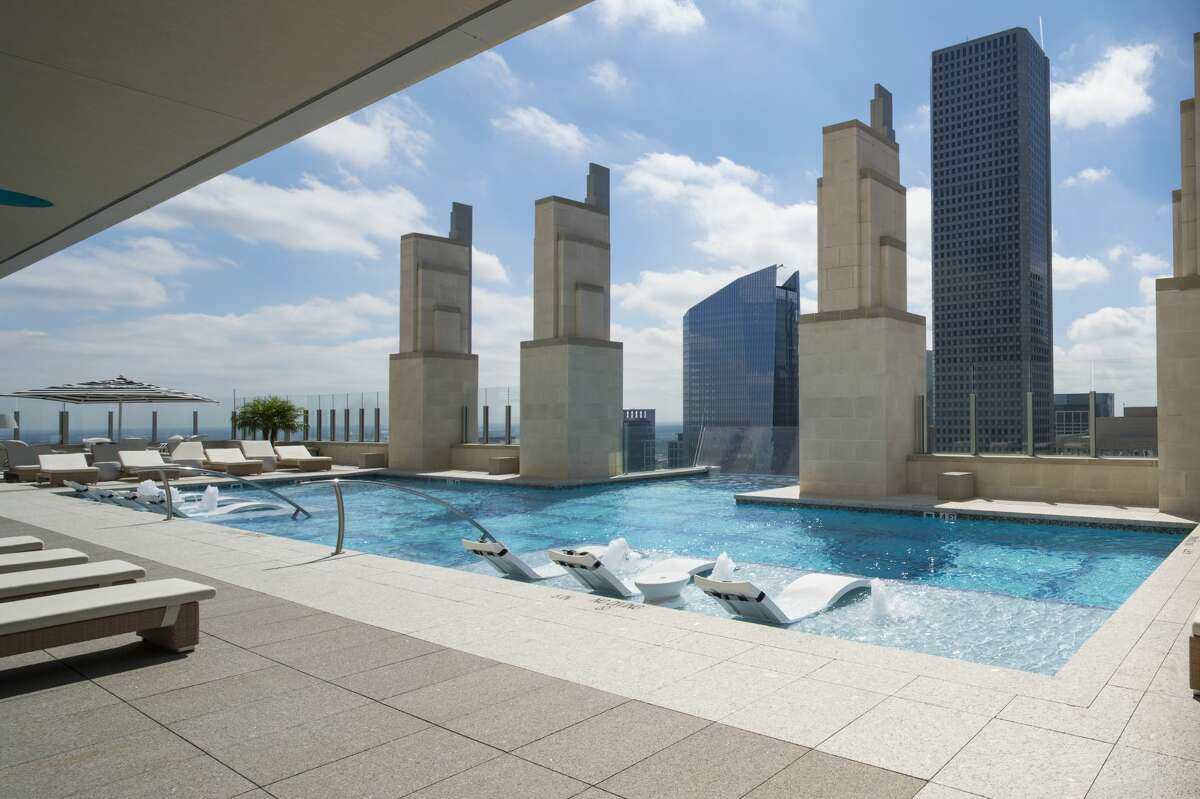Tour Market Square Tower A video from inside the downtown property went viral last week because of its tricky Sky Pool. Though, the pool is just the tip of the amenities offered at the property. Continue clicking to tour the rest of the Market Square Tower in Houston.