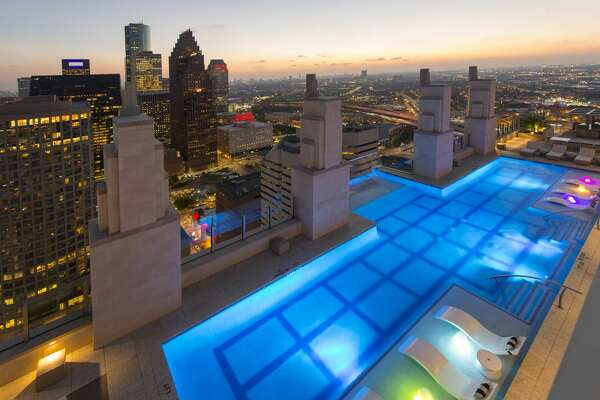 An aerial view of the Sky Pool that went viral for it's see-through bottom.