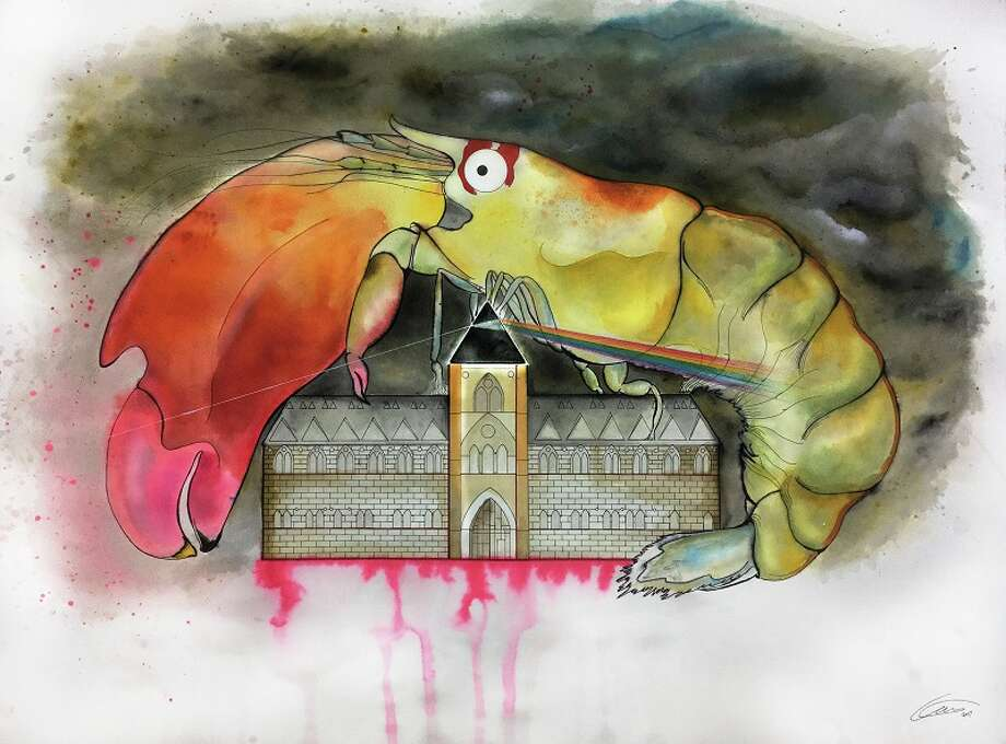 Another Shrimp in the Wall featuring Synalpheus pinkfloydi, the Oxford University Museum of Natural History building, and other Pink Floyd references. Artwork by Kate Pocklington. Photo: Kate Pocklington